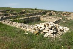 Ruins of the old antic greek town Argamum (Orgame) 5. Argamum (Orgamè, Argamon, Orgame) is an arheological site located in est part of the Tulcea county, near Stock Photography