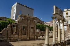 Ruins of the old Augusta Emerita Municipal Forum of Merida. Merida, Badajoz, Spain; May 2015 : Ruins of the old Augusta Emerita Municipal Forum stock photography