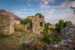 Ruins of Old Bar fortress tower with windows royalty free stock photos