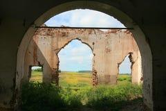 Ruins of old brick church Stock Photo