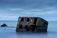 Ruins of old brick house. Barracks building in the Baltic sea. Royalty Free Stock Photo