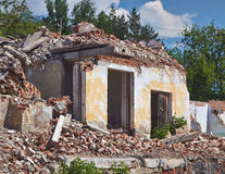 Ruins of an old  brick house. Stock Image