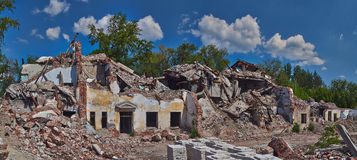 Ruins of an old   brick house. Stock Photos