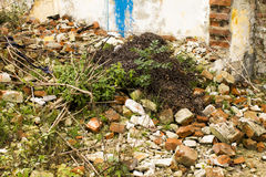 Ruins of an old brick house Royalty Free Stock Photos