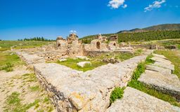 Hierapolis ancient town adjacent to modern Pamukkale in Turkey Stock Photo