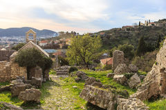 Ruins of old buildings. Made ​​of stone Royalty Free Stock Photo