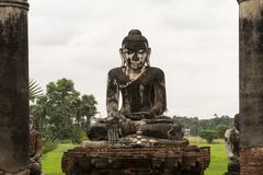 Ruins of an old Burmese temple stock photography