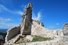 Ruins of the old Cachtice castle royalty free stock photo