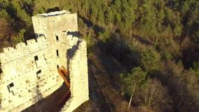 The ruins of the old castle from the air stock video footage