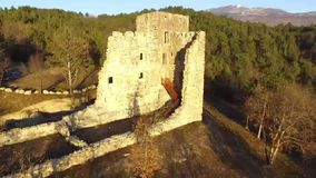 The ruins of the old castle from the air stock video