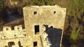 The ruins of the old castle from the air stock footage