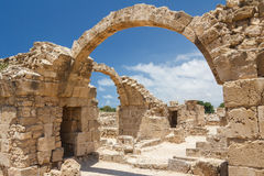 Ruins of the old castle built on top of the ancient Pafos city Stock Photography