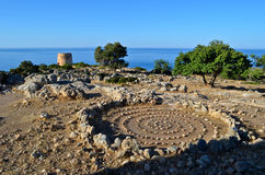 Ruins of an old castle close to Loutro Stock Images