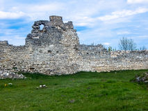 ruins of the old castle defensive wall Royalty Free Stock Photography