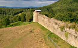 Ruins of old castle in French countryside Royalty Free Stock Image