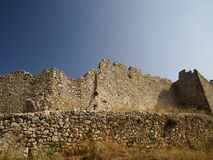 Ruins of an old castle in Greece Royalty Free Stock Photos