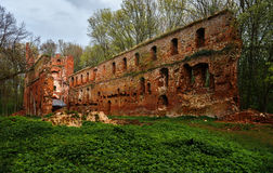 The ruins of the old castle made of brick in a clearing in the woods Stock Image