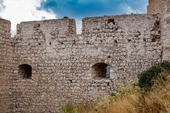 Ruins of an old castle on the mountain in Greece stock images