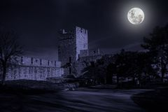 Ruins of old castle in mystery moonlight. Stock Photography