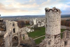 Ruins of old castle in Ogrodzieniec Stock Photography