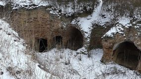 The ruins of the old castle in Ukraine. Winter season. stock video footage