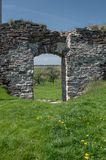 Ruins of old castle in West Ukraine. At spring time Stock Photo