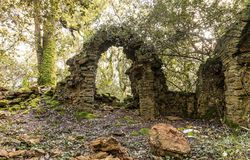 Ruins of an old chapel in the  woods. Ruins of an old chapel in the Veillon woods of Talmont Saint-Hilaire Vendee, France Stock Images