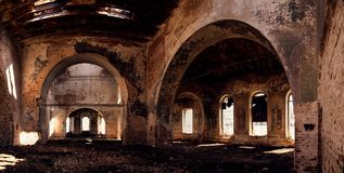 Ruins of old Christian church. Interior Stock Image