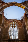 In the ruins of the old church.  Strange place. Royalty Free Stock Photo