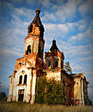 Ruins of old church. Unknown church in Russian village Stock Photo