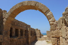 Ruins of the old city Caesarea in Israel Stock Photography