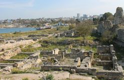 Ruins of the old city in Crimea. Beautiful summer landscape Royalty Free Stock Image