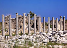 Ruins of old city Side. Antalya, Turkey Stock Photos