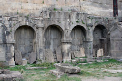 Ruins of Old Crosses (khachkar)  in the Tatev monestry, Armenia. Royalty Free Stock Photography