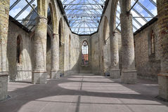 Ruins of an old Dutch monestery church. Called the Broere church in Bolsward, preserved and equipped with a glass roof Royalty Free Stock Photos