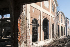 Ruins of old factory facade Royalty Free Stock Photo
