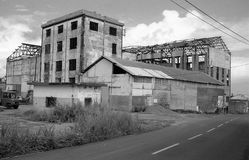 Ruins of an old factory after the passage of cyclone Hugo. In Guadeloupe in 1989. French Antilles Royalty Free Stock Image