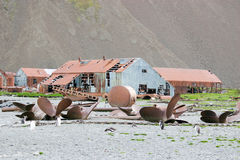 Ruins of old factory for processing whales Stock Photo
