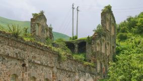 Ruins of old factory of zinc production dated by 19th century. In Ossetia stock video footage