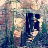 Ruins. Old fireplace ruin stock images