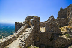 Ruins of old fort in Mystras, Greece Stock Image