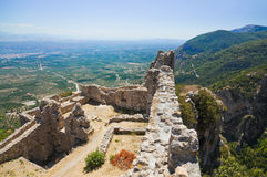 Ruins of old fort in Mystras, Greece Stock Photos