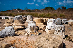 Ruins of old fortress . Ruins of old column in Caesarea . Israel stock photos