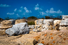 Ruins of old fortress . Ruins of old column in Caesarea . Israel Royalty Free Stock Photos