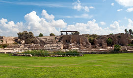 Ruins of old fortress . Old fortress castle in Caesarea . Israel Stock Photo