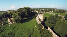 The ruins of the old fortress. Aerial view of the ruins of the old fortress stock video footage