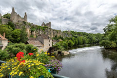 Ruins of the old Fortress at Angles-sur-l'Anglin Stock Photography