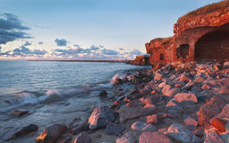 Ruins of old fortress on the Baltic sea  shore Royalty Free Stock Images