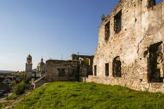 Ruins of old fortress in Chortkiv, Ukraine. Old castle in Chortkiv was build by Golski in 1610, Ternopil region, Ukraine Royalty Free Stock Photos