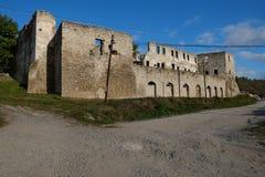Ruins of old fortress in Chortkiv, Ukraine. Old castle in Chortkiv was build by Golski in 1610, Ternopil region, Ukraine Royalty Free Stock Image